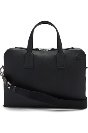 Loewe Goya Anagram-debossed Grained-leather Briefcase - Mens - Black