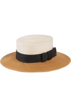 Gucci Straw-effect wide brim hat with bow