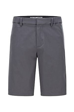 HUGO BOSS Slim-fit short van een katoenmix met stretch in dobbystructuur