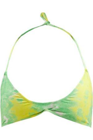 Ganni Halterneck Abstract-print Jersey Bikini Top - Womens - Green Multi