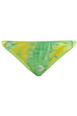 Ganni Abstract-print Twist-side Bikini Briefs - Womens - Green Multi