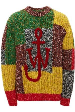 J.W.Anderson Anchor-logo Patchwork Sweater - Womens - Red Multi