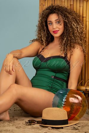 Esther Williams 50s Serena One Piece Swimsuit in Glossy Dark Green