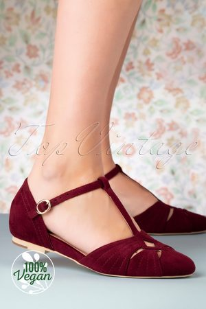 Charlie Stone 50s London T-Strap Flats in Wine Red
