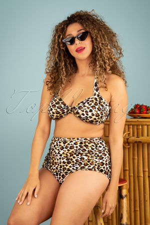 Esther Williams Dames Bikini broekjes - 50s Sarong Bikini Bottoms in Leopard