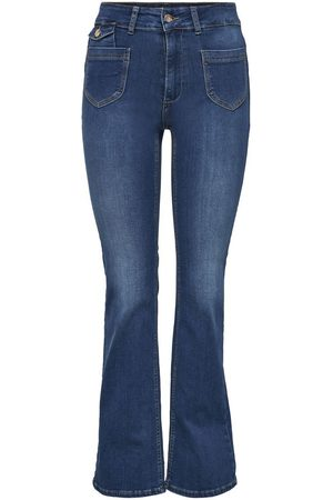 ONLY Onlebba High Waist Knoop Flared Jeans Dames Blauw