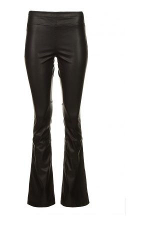 Knit-ted Faux leather flared broek Afke