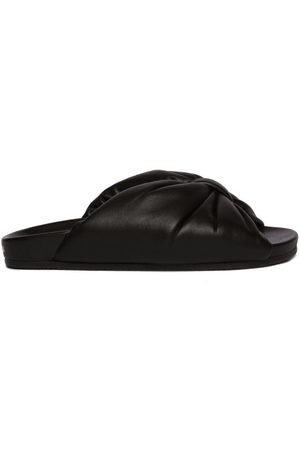 Balenciaga Puffy Knotted Leather Slides - Womens - Black