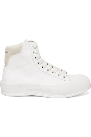 Alexander McQueen Panelled High-top Canvas Trainers - Womens - White