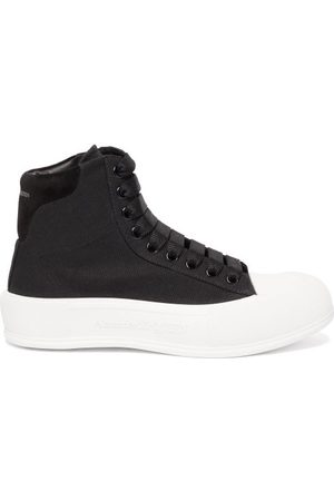 Alexander McQueen Panelled High-top Canvas Trainers - Womens - Black