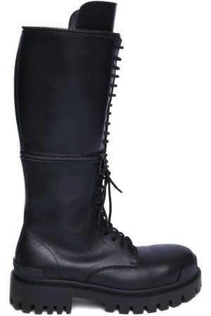 Balenciaga Master Zipped Leather Boots - Womens - Black