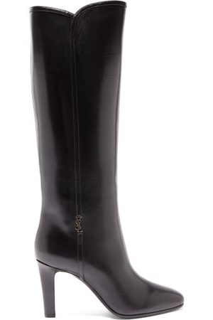 Saint Laurent Jane Knee-high Leather Boots - Womens - Black