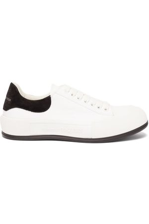 Alexander McQueen Deck Canvas And Suede Trainers - Mens - White Black
