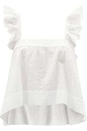 WIGGY KIT Paperwhite Ruffled Cotton-seersucker Top - Womens - White