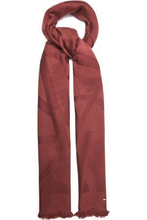 Saint Laurent Ysl-monogram Fringed Wool Scarf - Womens - Burgundy