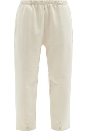 Les Tien Snap-front Brushed-back Cotton Track Pants - Womens - Ivory