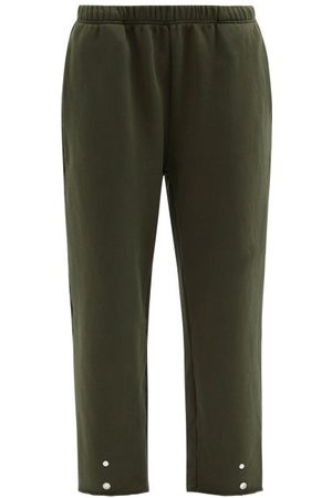 Les Tien Snap-front Brushed-back Cotton Track Pants - Womens - Dark Green
