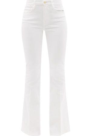 Frame Le High Cotton-blend Flared-leg Jeans - Womens - White
