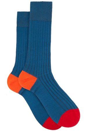 Pantherella Portobello Ribbed-knit Socks - Mens - Blue
