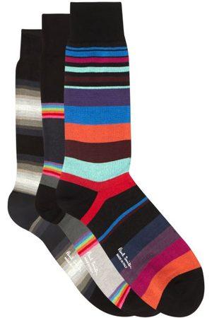 Paul Smith Pack Of Three Striped Cotton-blend Socks - Mens - Multi