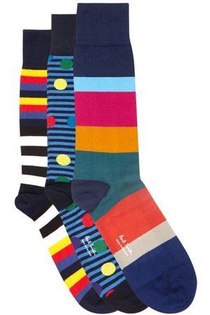 Paul Smith Heren Sokken & Kousen - Pack Of Three Striped And Spot Cotton-blend Socks - Mens - Multi