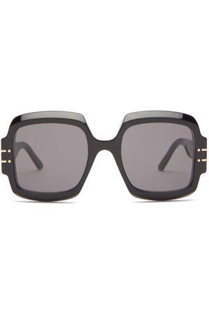 Dior Signature Oversized Square Acetate Sunglasses - Womens - Black
