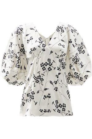 Julie De Libran Gilda Puffed-sleeve Floral-print Silk Blouse - Womens - White Black