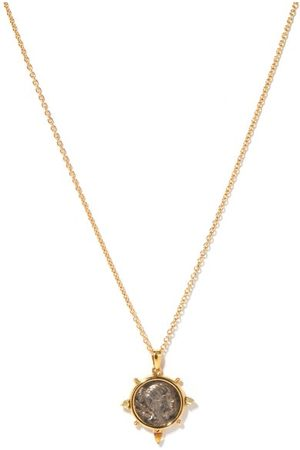 Dubini Dames Kettingen - Diana Silver-coin & 18kt Gold Necklace - Womens - Silver Gold