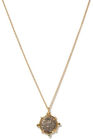 Dubini Dioscuri Silver-coin & 18kt Gold Necklace - Womens - Silver Gold