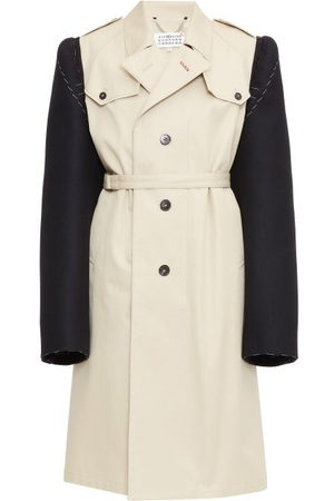Maison Margiela Dames Trenchcoats - Contrast-sleeve Single-breasted Trench Coat - Womens - Cream