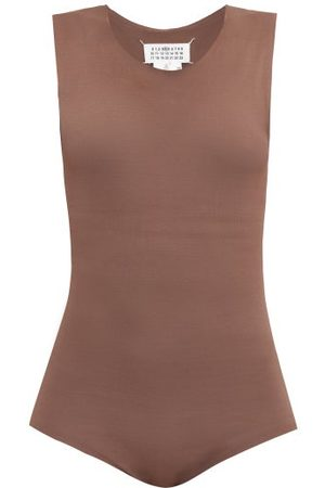 Maison Margiela Dames Bodysuit - Raw-edge Jersey Bodysuit - Womens - Brown