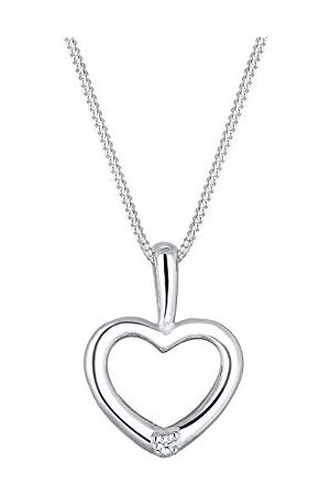 DIAMORE Dames sieraden ketting ketting met hanger hart liefde vriendschap liefdesbewijs zilver 925 diamant 0,02 karaat lengte 45 cm