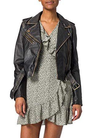 GOOSECRAFT Womens GC Marly biker Leather Jacket, Black, Large