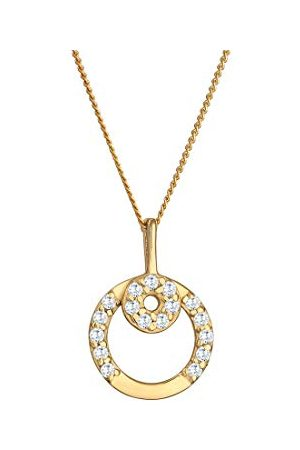 Elli Premium damesketting met hanger cirkel 585 geelgoud zirkonia wit briljant geslepen 45 cm - 0108751516_45