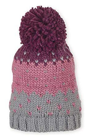 Sterntaler Unisex gebreide muts met pompon en blokkleuren, gevoerd, leeftijd vanaf 7 jaar, maat: 57, lila/roze/grijs