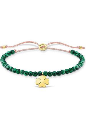 Thomas Sabo Armband groene parels met klaverblad goud, 925 sterling zilver, 13-20 cm lengte