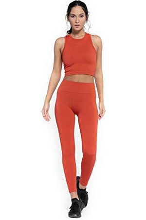 Heart And Soul Dames-hiny Ribbed sportieve leggings, chili, regular.