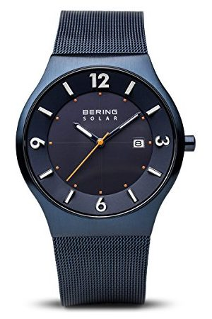 Bering Dames Analoog Slim Solar Horloge met Roestvrij Stalen Armband 14440-393