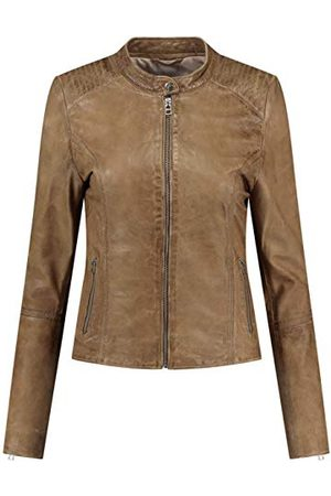 GOOSECRAFT Womens GC Blair biker Leather Jacket, cappuccino, Small
