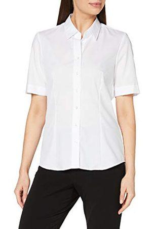 Seidensticker Damesblouse – strijkvrije, licht getailleerde hemdblouse met hemdblouse-kraag – korte mouwen – 100% katoen