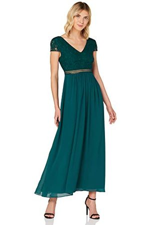 TRUTH & FABLE Amazon-merk - WAARHEID & FABEL Maxi Chiffon A-lijn jurk voor dames, (Deep Teal),12