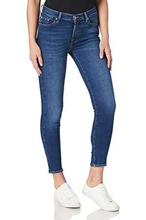 7 for all Mankind Hw Skinny Crop Mid Blue Jeans voor dames