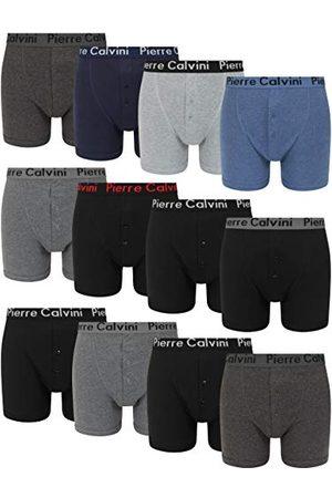 FM London Heren Button Fly Boxer Shorts (Pack van 12) - multi - XL