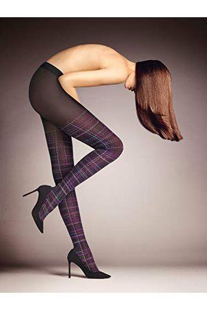 Falke Country Glamour Panty 50 denier maat S-L dames paars versterkte fijne panty met patroon ondoorzichtig scheurvast met ruiten 1 stuk