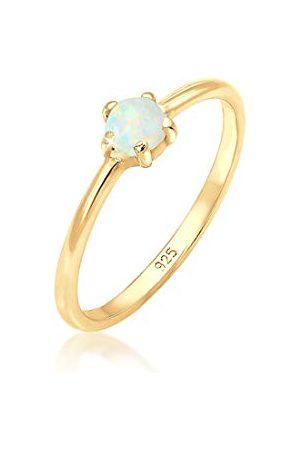Elli Ringen basic bandring synthetische opaal geo 925 zilver rosegoud
