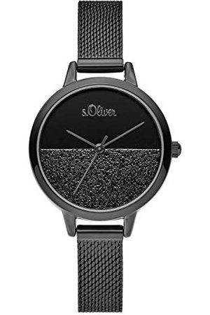 s.Oliver SO-3744-MQ analoog kwartshorloge voor dames, met roestvrijstalen armband