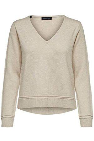 SELECTED Dames Slfinka Cashmere Ls Knit V-hals Noos Pullover