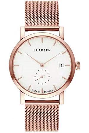 LLARSEN Dames analoog kwarts horloge met roestvrij stalen armband 137RWR3-MR3-18
