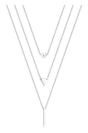 Elli Halsketting Layer Kugel Dreieck Rechteck Geo 925 Silber