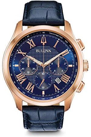 BULOVA Heren chronograaf kwartshorloge met lederen armband 97B170
